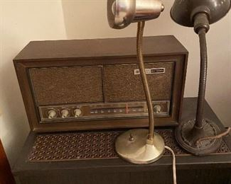 Vintage radio and industrial table lamps