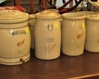 6 and 10 gallon Red Wing water coolers. Red Wing butter churns Crocks and jugs.