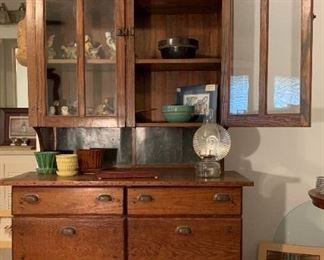 antique beautiful hutch with pull open bins.