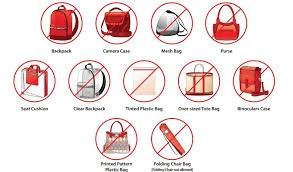 No Bags Allowed. We will have shopping bags for customers.