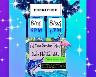 Online FURNITURE ONLY Estate Sale in Sebastian, Florida Date Changed to Begin 8/14 @ 6PM