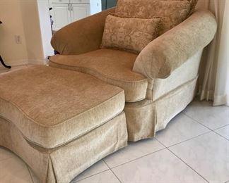 PRICE: $  Honey Chenille Chair + Ottoman. 1 Back Pillow, 1 decorative pillow Item#PH47852