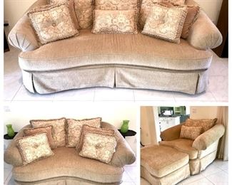 Beautiful Sofa set in Honey to Pale Gold Chenille. See pine front and rolled arms. Decorative pillows.  all priced separately.