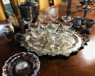 Vintage Champagne Cups, Assorted silverplate