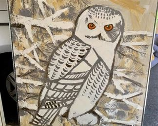 "Lee Reynolds Framed Snowy Owl Oil Painting on Canvas (41"" w x 51"" h) - $475. ***Please note: California sales tax will be charged on all purchases unless you have a valid California resale certificate on file with us.***"