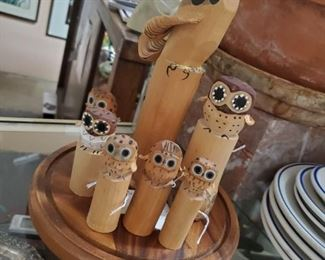 """Vintage Japanese sasano-bori chisel carved wooden folk art birds - Small owls (3.5"""" high) - $40; Large owl (6"""" high) - $60; Eagle (10"""" high) - $125 ***Please note:  California sales tax will be charged on all purchases unless you have a valid California resale certificate on file with us.***"""