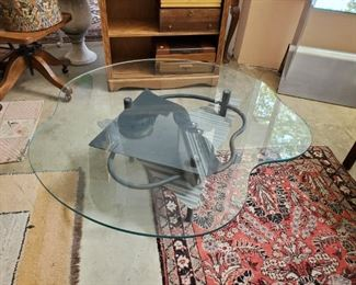 """Modernist amoeba heavy glass-top metal coffee table, 44"""" w x 41"""" l x 15"""" h (glass top is 1/2"""" thick) - $250 ***Please note: California sales tax will be charged on all purchases unless you have a valid California resale certificate on file with us.***"""