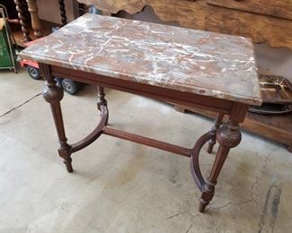 """Antique rectangular marble top table (25""""w x 16""""d x 22""""h) - $95 ***Please note: California sales tax will be charged on all purchases unless you have a valid California resale certificate on file with us.***"""