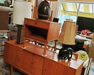 """Credenza SOLD; Dux Mid Century Teak Side Table (24"""" w x 18.5"""" d x 25"""" h) - $350. ***Please note: California sales tax will be charged on all purchases unless you have a valid California resale certificate on file with us.***"""