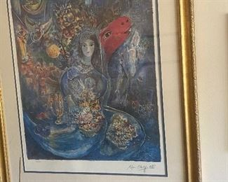 Marc Chantal Lithograph Bella, facsimile signed And penciled number 434/1000