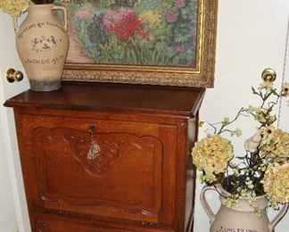 BEAUTIFUL FRENCH DROP FRONT BAR CABINET WITH KEY