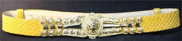5. Judith Lieber Vintage Lion Head Snakeskin Belt