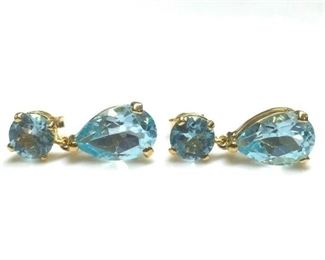 1. Pair of Round and Pearshaped Blue Topaz Earrings
