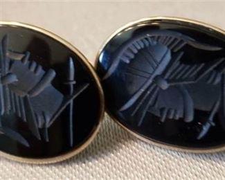 2. Roman Warrior Oval Onyx Intaglio 14K Gold Earrings