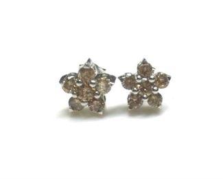 6. 0.75 Carats Cognac Flower Diamond Earrings