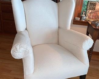 Cream colored Winged Back Chair