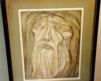 Lithograph signed Amen framed and matted called Isaiah #2 - number 20 out of 90 26x22 in the frame. The wooden frame needs some touch up    $45