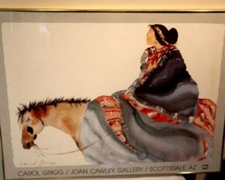 Carol Grigg Gallery Poster, gold toned under glass frame. 1988 32x24 with frame $40.00