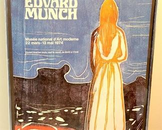 Edward Munch Poster for an Exhibit in 1974 of his work. In France at the National Museum of Modern Art in 1974. Metal frame with glass 21 1/4 x 31 1/4 $100