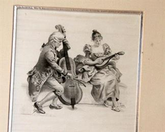 Engraving on silk slight damage on the bottom, signed V. Tojetti. Two musicians, man with cello and woman playing mandolin. Needs glass has a nice gold frame with silver leaf. 12x10 1/4. Listed artist. $95 Framed in Boston