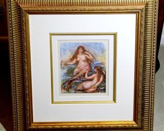 Lithograph by Renoir called The Les Sirenes, original signed in the plate Renoir limited edition of 375. Includes  COA Excellent Quality frame and mat. 26 1/4 x 28    $250