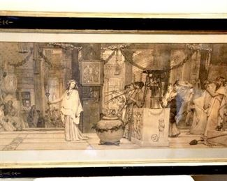 Engraving Roman scene Victorian. Wood backing frame 39x22 in the frame      $175