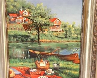 """Andrew Weissman  Chicago Artist """"Picnic by the River"""", silver leaf wood frame. Oil on canvas 1990s    23x27   $125"""