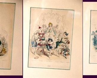 Engravings by Granville, 1852 (the animated flowers) wood frames  13 1/2 x 11 matted with glass - set of three. Hand colored. $150 for the set