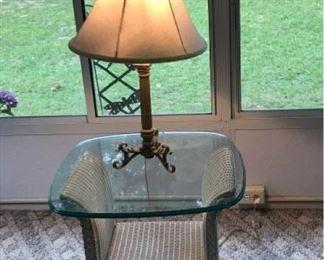 Lloyd Flanders Wicker Side Table & Lamp