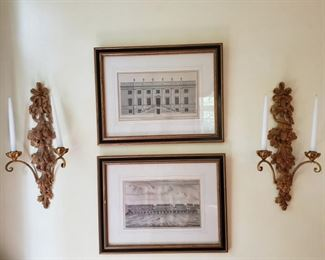 Two architectural prints and wall sconces ONE SOLD