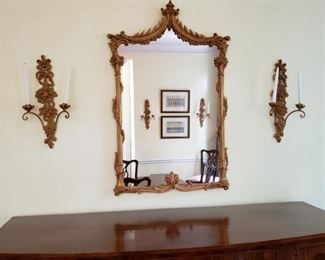 """Gilt decorated framed mirror 47"""" high by 30"""" wide"""