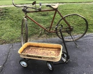 Antique Bicycle with Carbide Lantern and a Metal Wagon Ninas Favorite