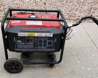 Predator 4000W Generator	 Includes Wheel Kit and Dual Fuel Conversion Kit (Natural Gas / Propane). Used only a couple times, runs, may need some tuning up. Powered by a reliable Predator gas engine, this generator is ideal for emergencies, job site use, recreation, household, lawn and garden, heating and cooling. Run time: 10 hours @ 50% capacity / Heavy duty 1 in. steel roll cage / Low oil indicator / low oil shutdown / 212cc, 6.5 HP air-cooled OHV gas engine / UL listed circuit breakers / (4) 120V duplex outlets, 3 prong, (1) 240V twist lock outlet, 4 prong, (1) 12V DC outlet / ecoil start / GFCI outlets