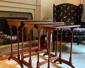 """Item 66:  Set of nesting tables marked Old Towne: $145                                                                                                   Small - 18.5""""l x 13.75""""w x 23""""h                                                                    Medium - 21""""l x 14.75""""w x 24""""h                                                             Large - 23.5""""l x 15.5""""w x 25.5""""h"""