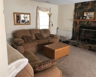 Matching sofa and loveseat, coffee table with storage, mirror