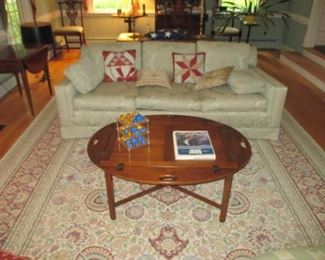 Butlers Table Hinged Mahogany Butler's Tray Table, Sofa & Rug