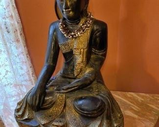 antique monumental carved wood 2.5' tall quan-yin statue