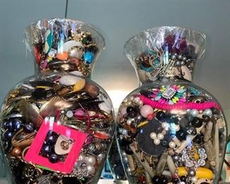 LARGE JEWELRY JARS OF BROKEN JEWELRY FOR ARTS & CRAFTS