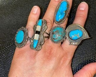 NATIVE AMERICAN SOUTHWEST TURQUOISE RINGS