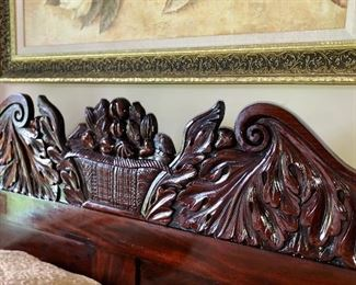 Headboard carving of 1840's highly carved mahogany Queen size bed With twin trundle bed.  Breaks down into a bundle for moving or shipping.  The hand crochet coverlet is actually a canopy.