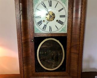 Mid 1800's flame mahogany Seth Thomas clock in working order.