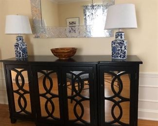 Mirrored credenza with trellis look overlay