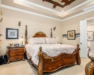 Complete King bedroom set - 4 poster King Bed with mattress and box springs,  Marble tops 2 side tables, Marble top large dresser with mirror King Set $4400 with Simons Beauty Rest king mattress/box springs
