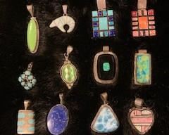 Calvin Begay Ice Opal Bear Pendant, L. Yazzie Sterling  heart Pendant.     Lots of Sterling Pendants, Rings, Bracelets, Necklaces, Earrings
