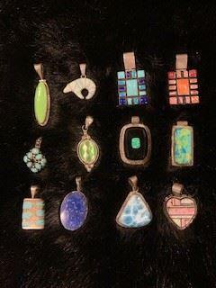 Calvin Begay Ice Opal Bear Pendant, L. Yazzie Sterling  heart Pendant.     Lots of Sterling Pendants, Rings, Bracelets, Necklaces, Earrings