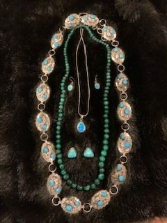 Sterling Turquoise Conch Belt, Malacite Necklace,