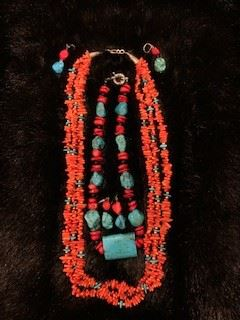 Red Coral and Turquoise Multi Strand Necklaces with Earrings