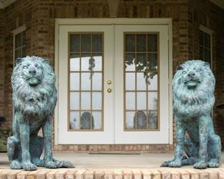 """Lot #2 — Rare pair of brass sitting guardian lion statues. 36"""" tall."""