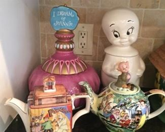 Classic cookie jars and tea pots.
