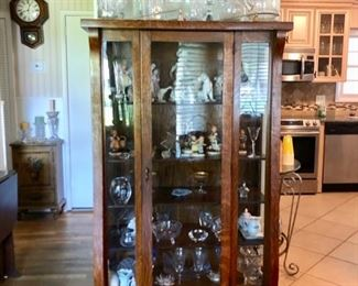 Antique oak Display Cabinet with vintage collectibles